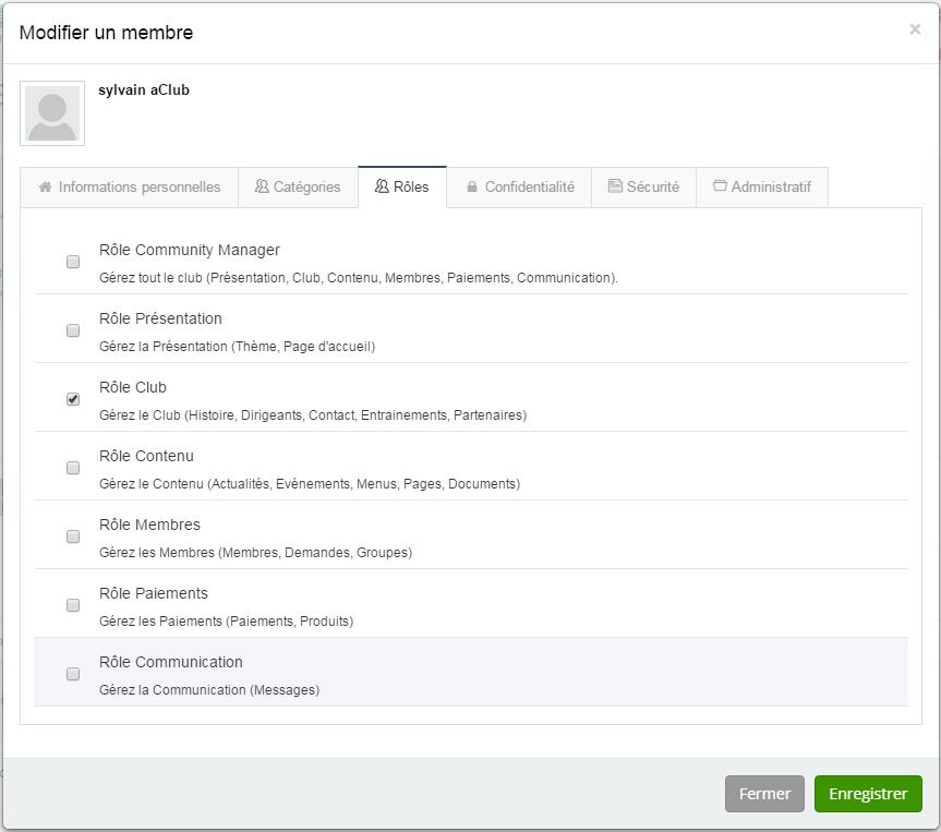 Roles-Base de données des membres